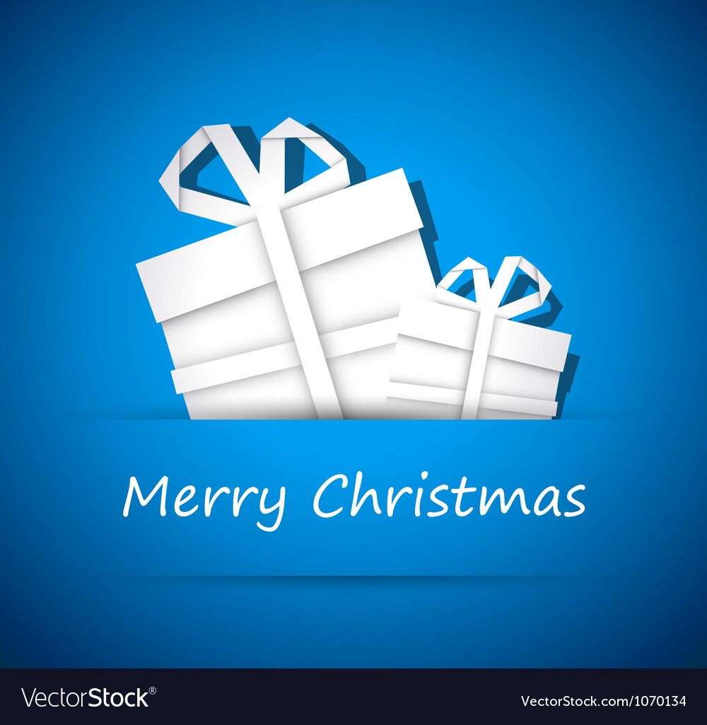 Two christmas gift from white paper vector