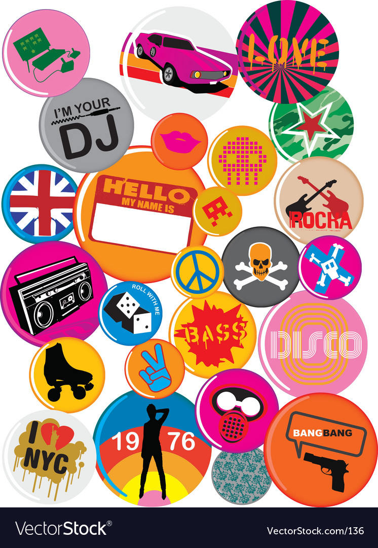 Free badges 80s style pop retro vector