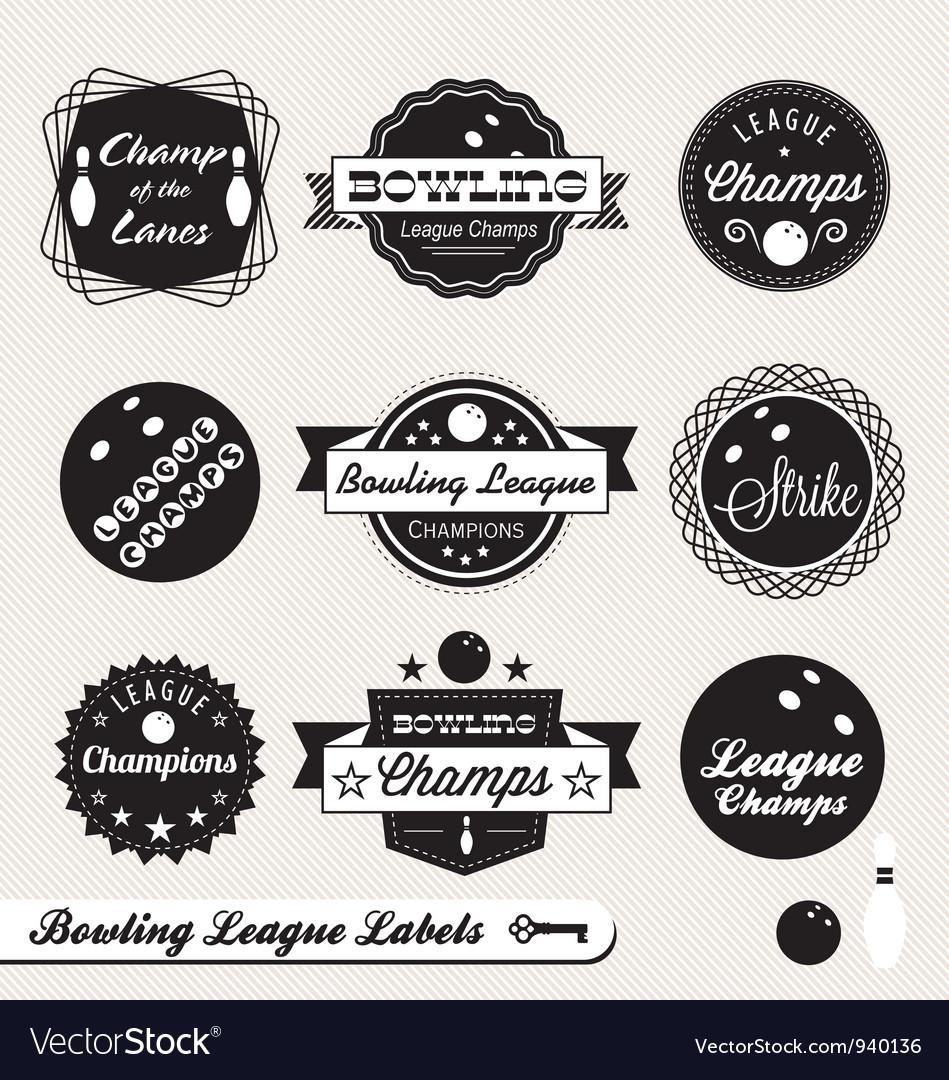 Bowling league champs labels vector