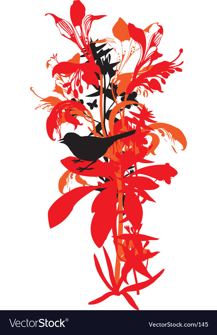 Free lily and bird vector