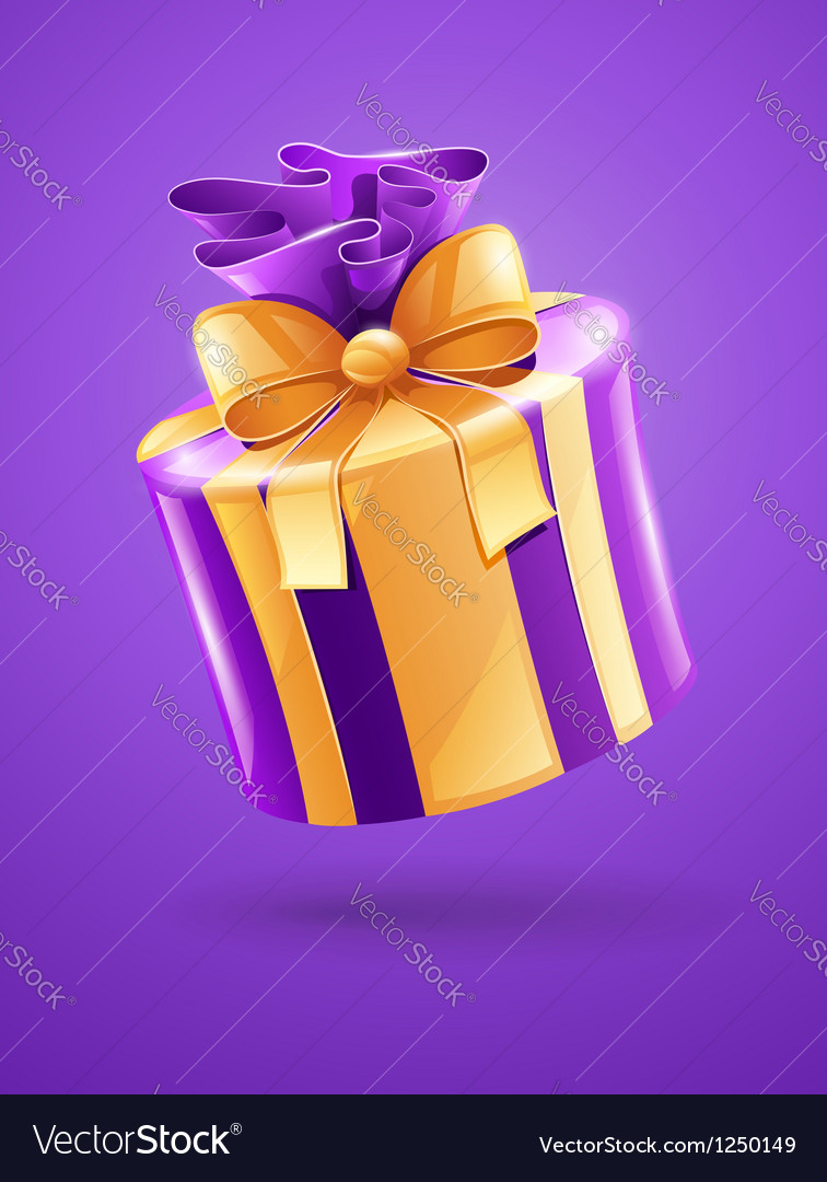 Holiday gift with gold ribbon vector