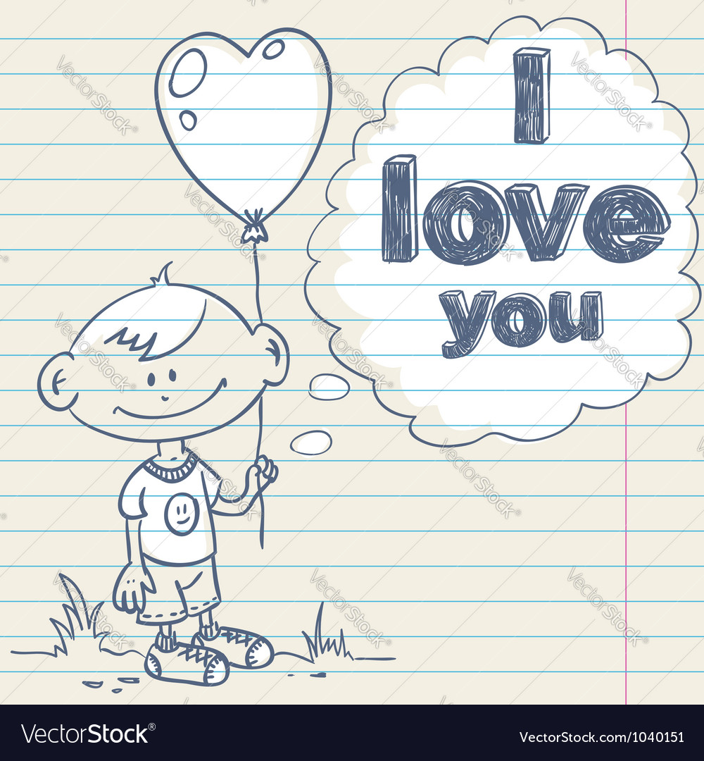 Cute greeting card with hand drawn cartoon little vector