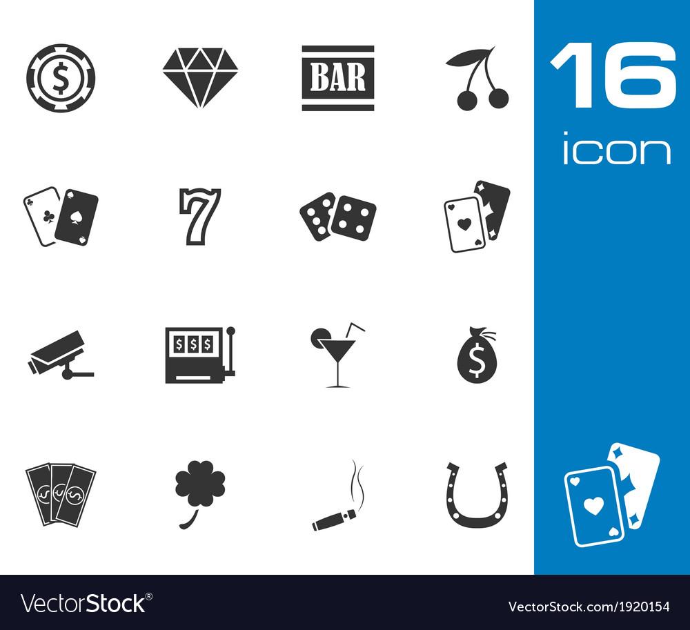 Black casino icons set on white background vector
