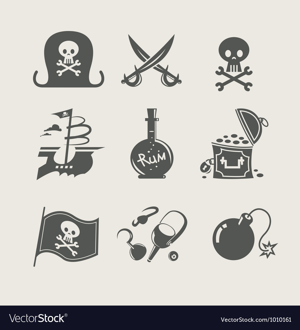 Pirates accessory set of icon vector