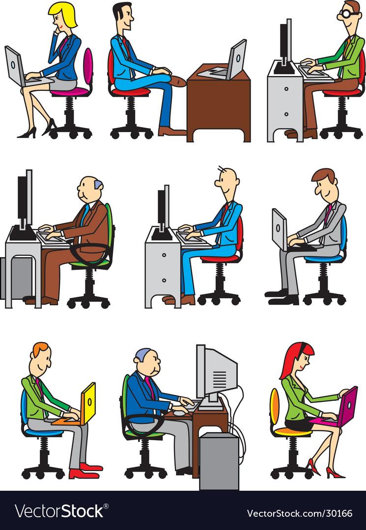 Computer workers vector