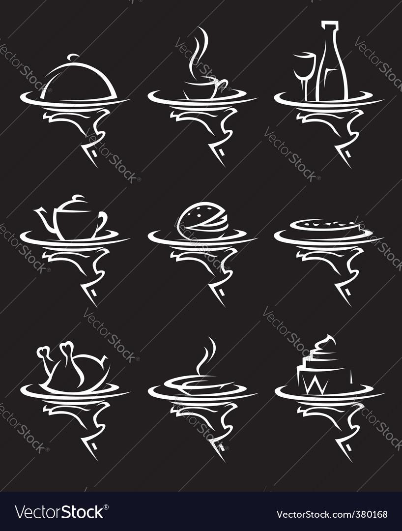 Restaurants icon set vector