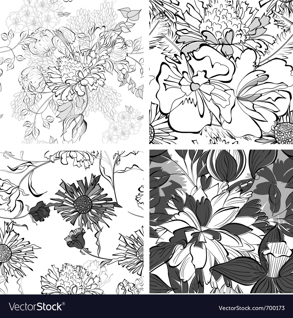 Set of seamless pattern with flowers vector