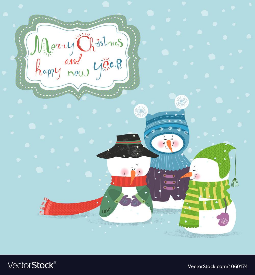 Three christmas snowman vector