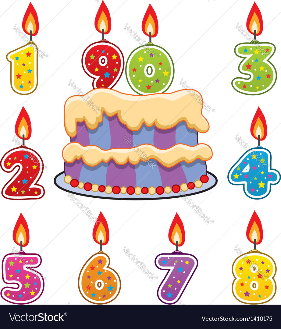 Birthday candles and cake vector