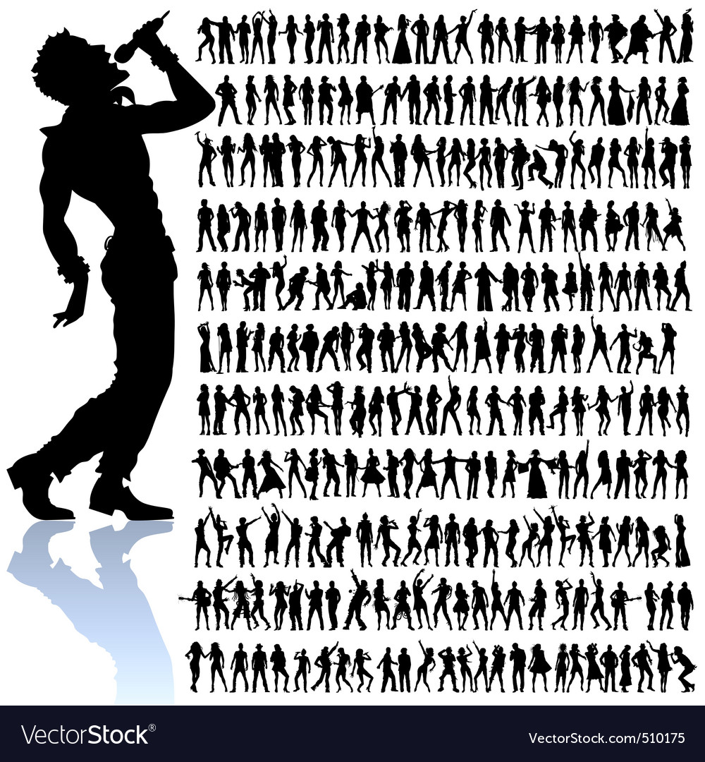 Dancing and singing people big set vector