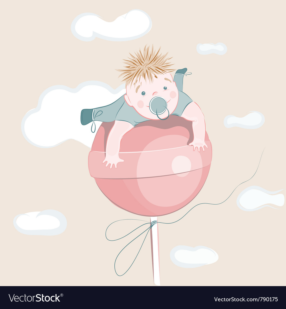 Sweet little boy on the lollipop vector