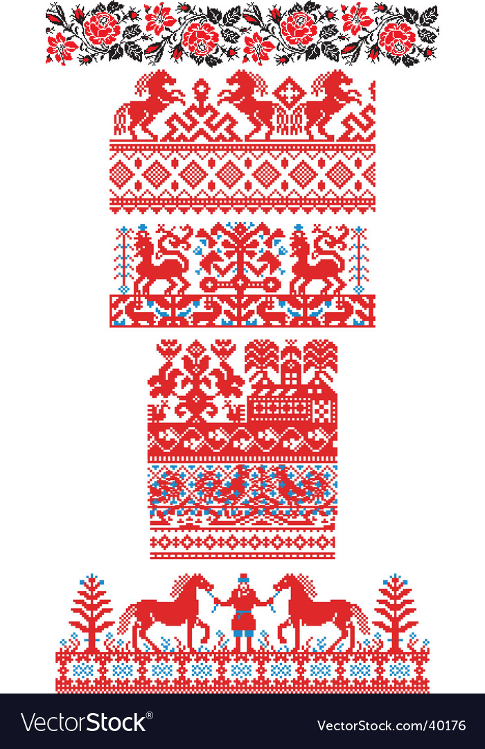 Russian embroidery ornaments vector
