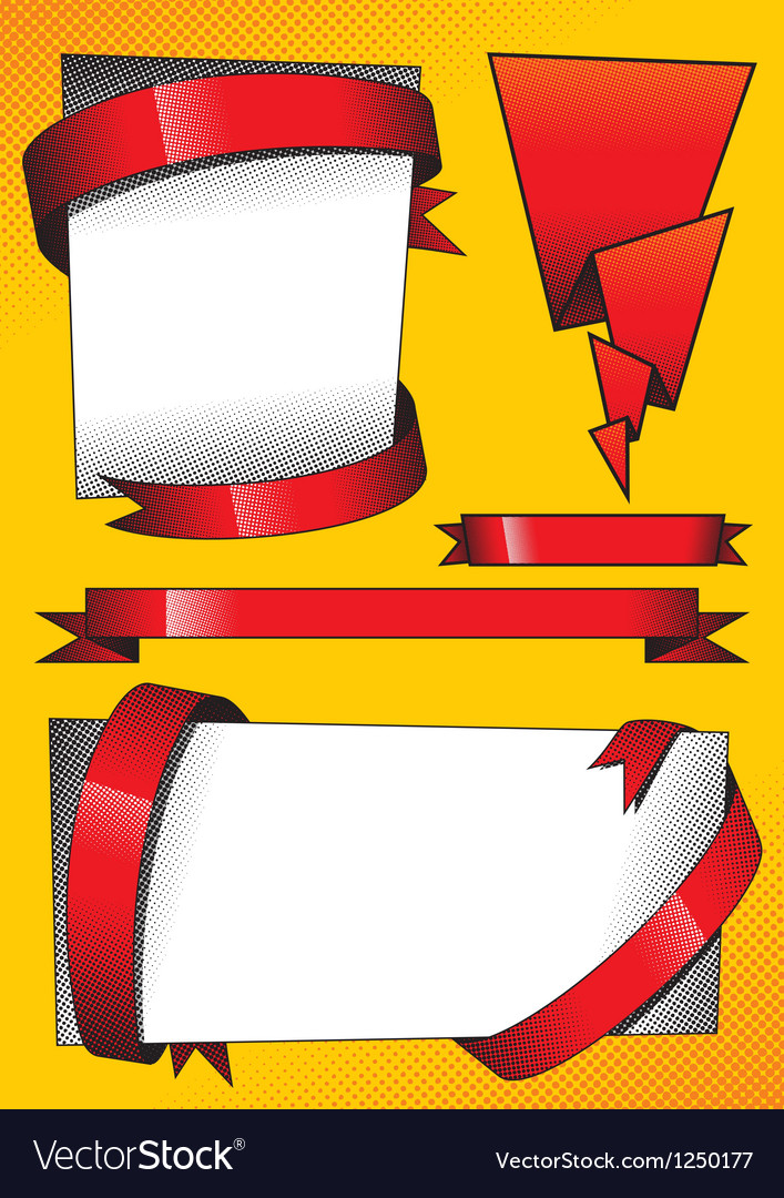 Design elements with red ribbons vector