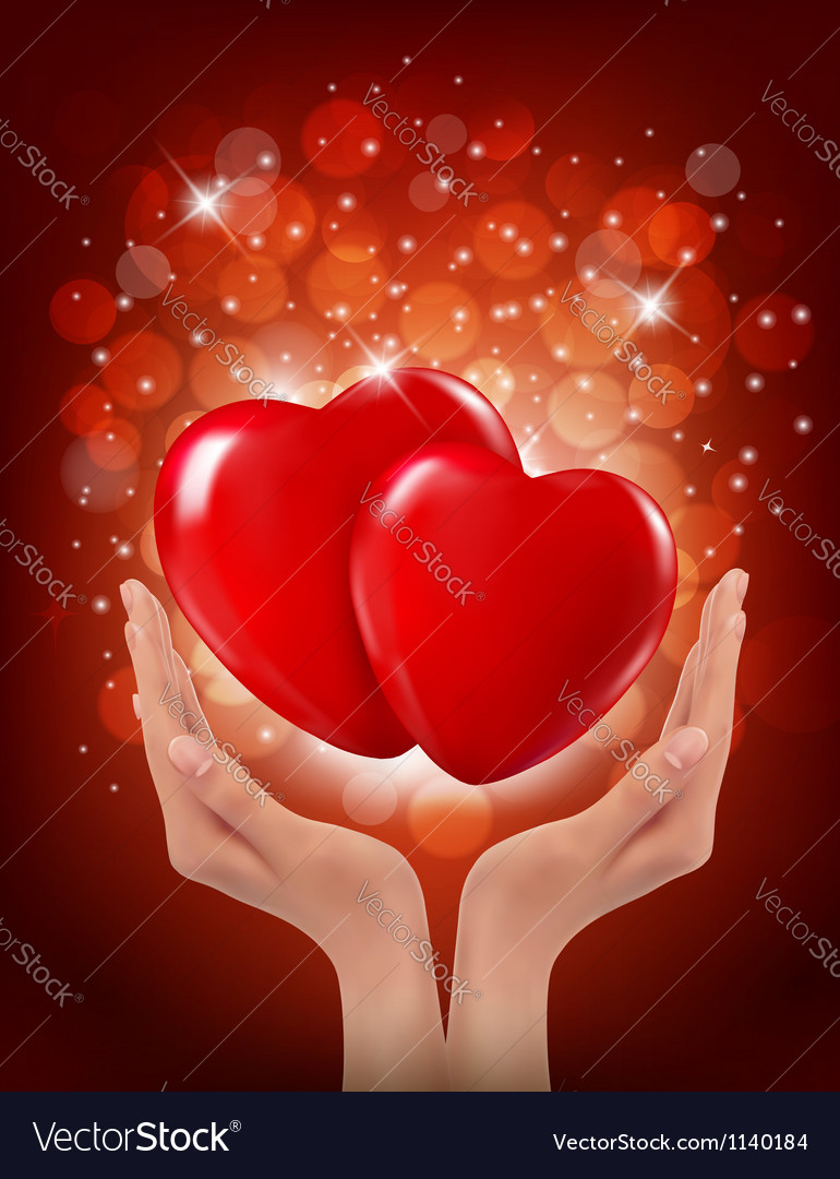 Valentines day background hands holding two red vector