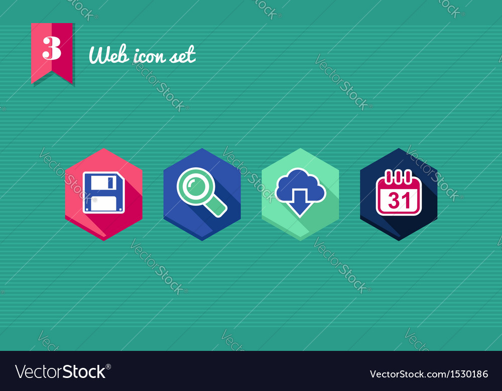 Web apps geometric flat icons set vector