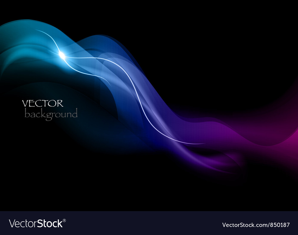 Wave neon light dark curve blue vector