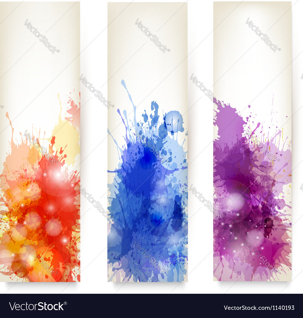 Collection of colorful abstract watercolor banners vector