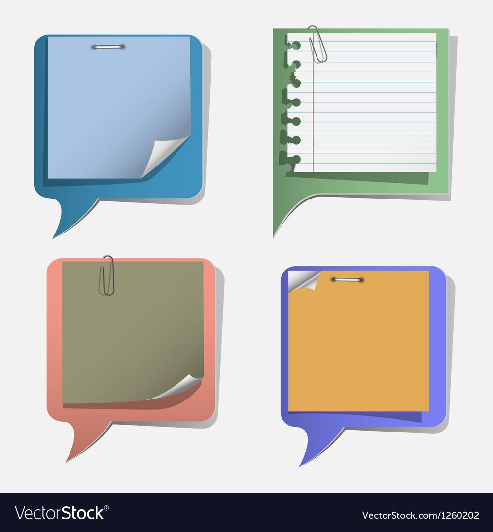 Four torn paper speech bubbles vector