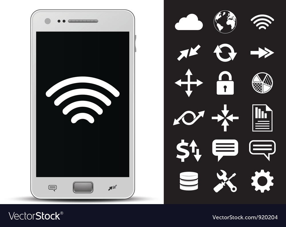 Smartphone and 18 icons vector