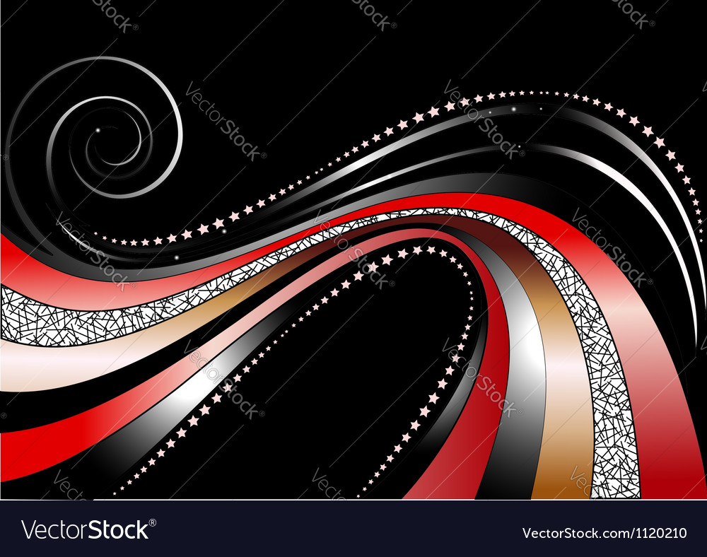 Colored and silver wavy stripes and stars on black vector