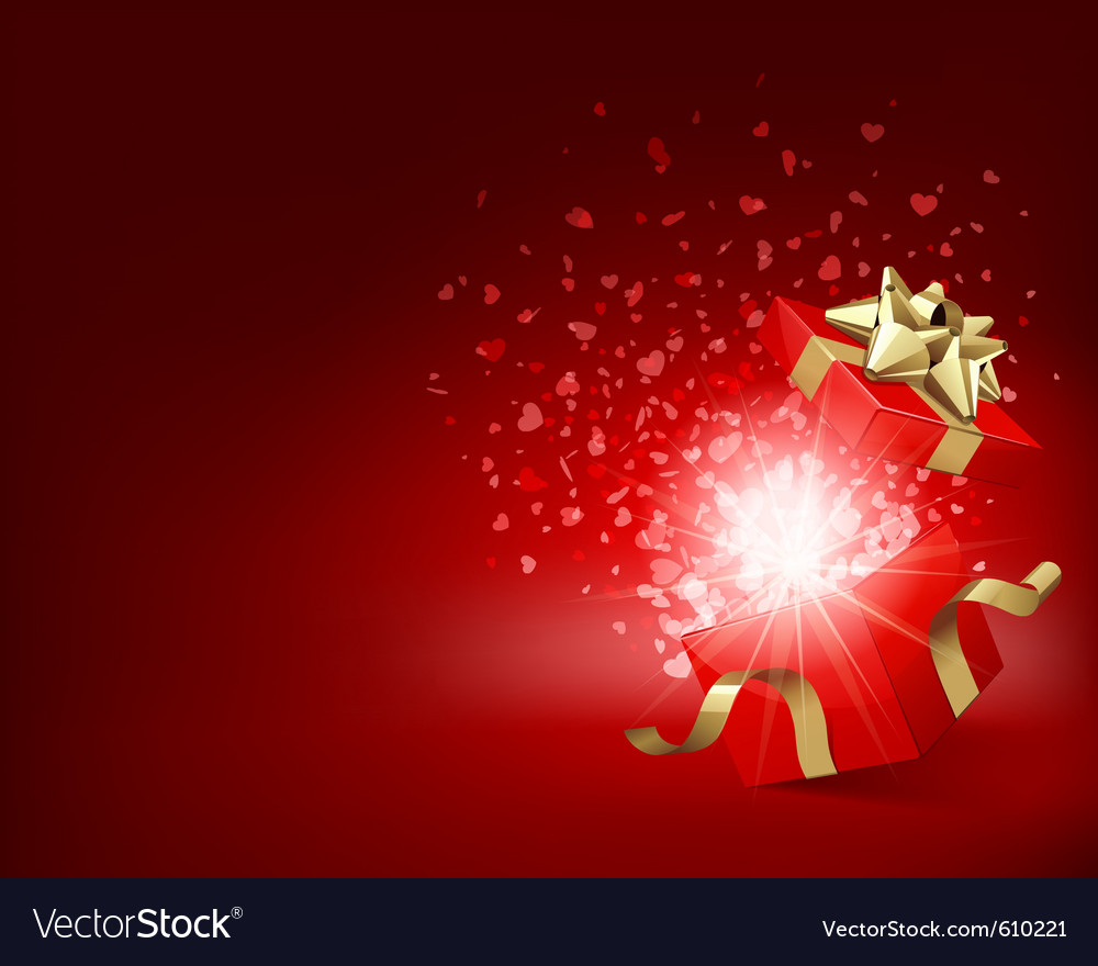Open gift with fireworks vector