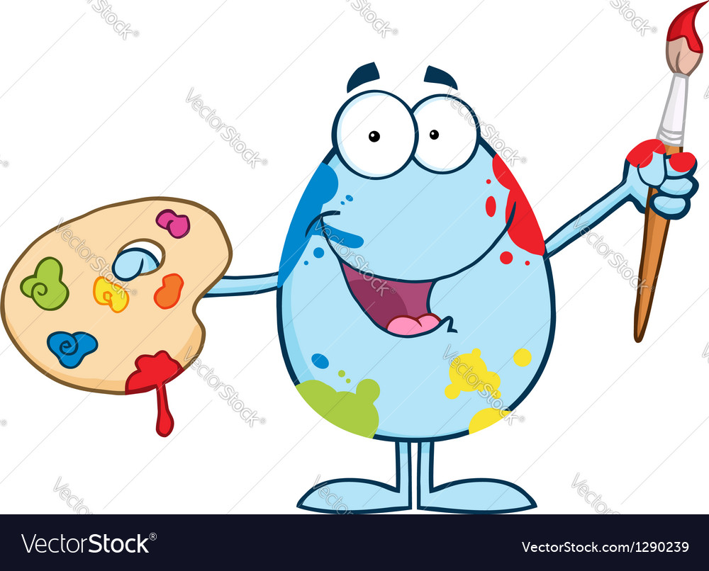 Blue easter egg painter with a brush and palette vector