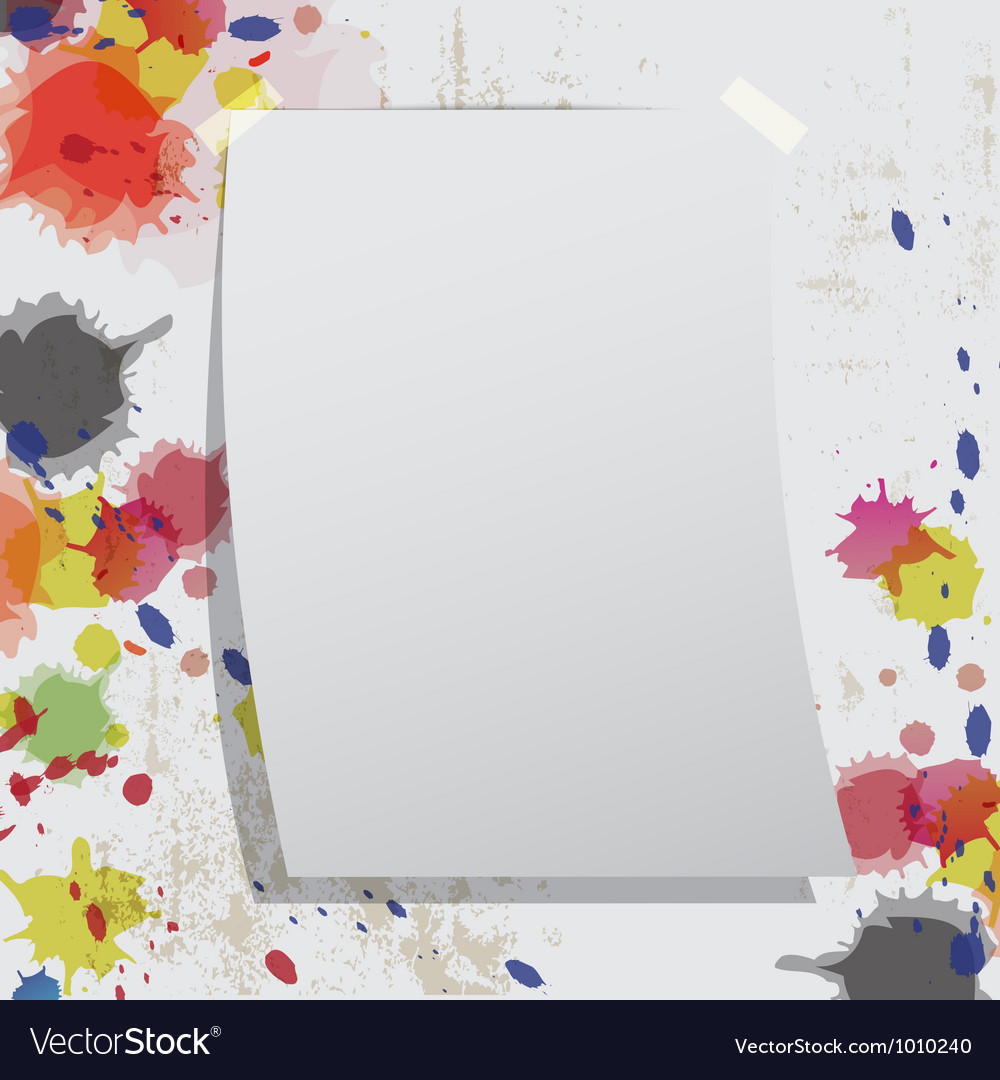 Blank paper on grunge wall and ink splatter vector