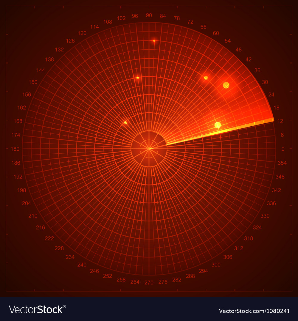 Red radar screen vector