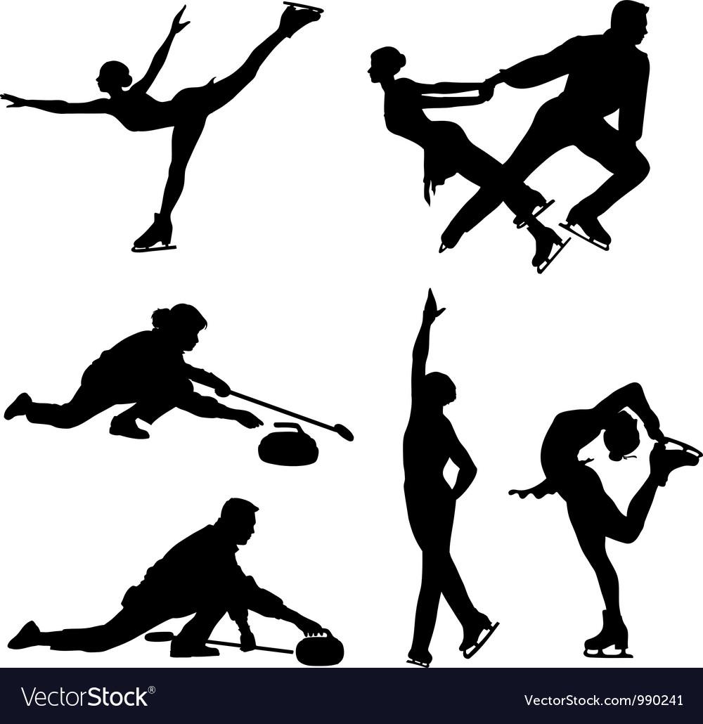 Sports on ice black icon set vector