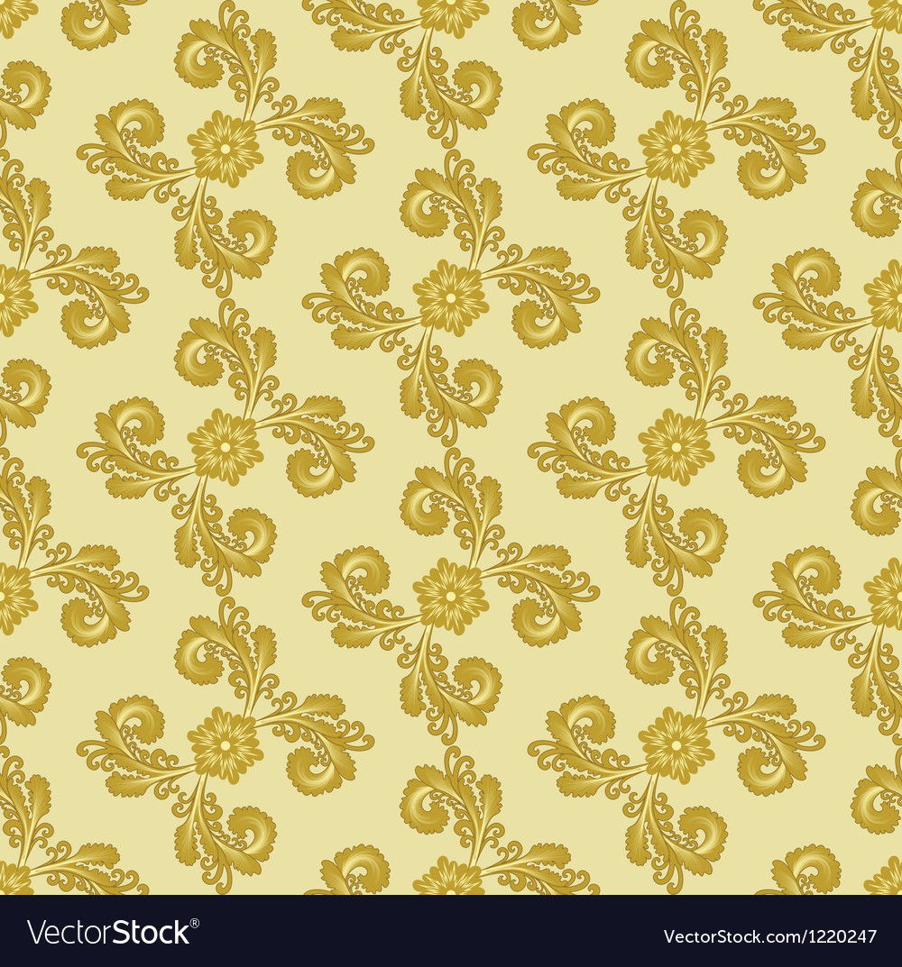 Gold pattern with curly leaves vector