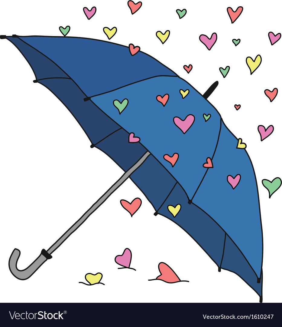 Umbrella and colourful hearts vector