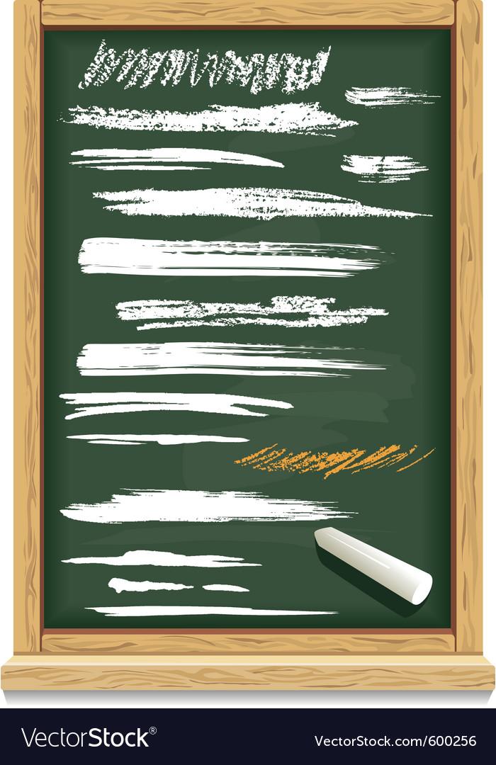 Brush strokes of chalk on a blackboard vector