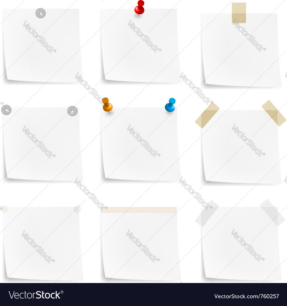 Paper notes and stickers vector