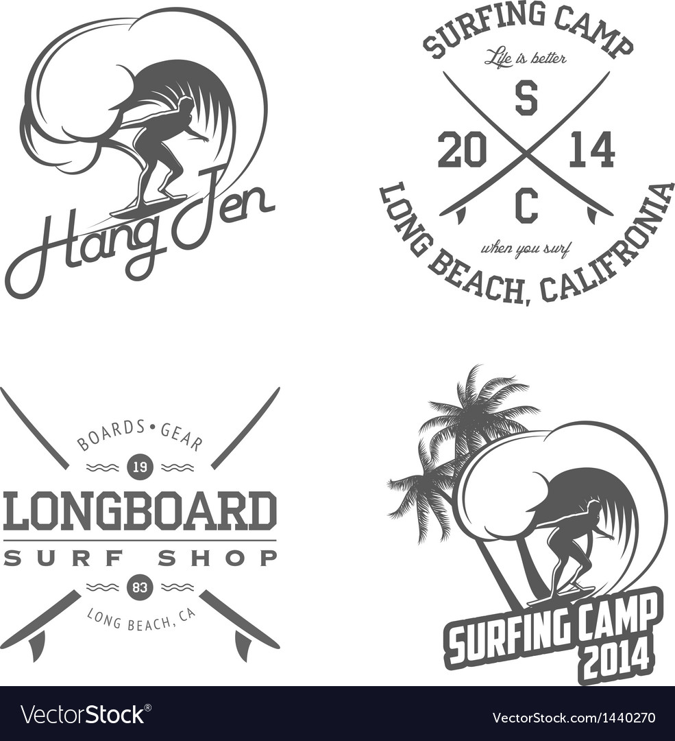 Set of vintage surfing labels and badges vector