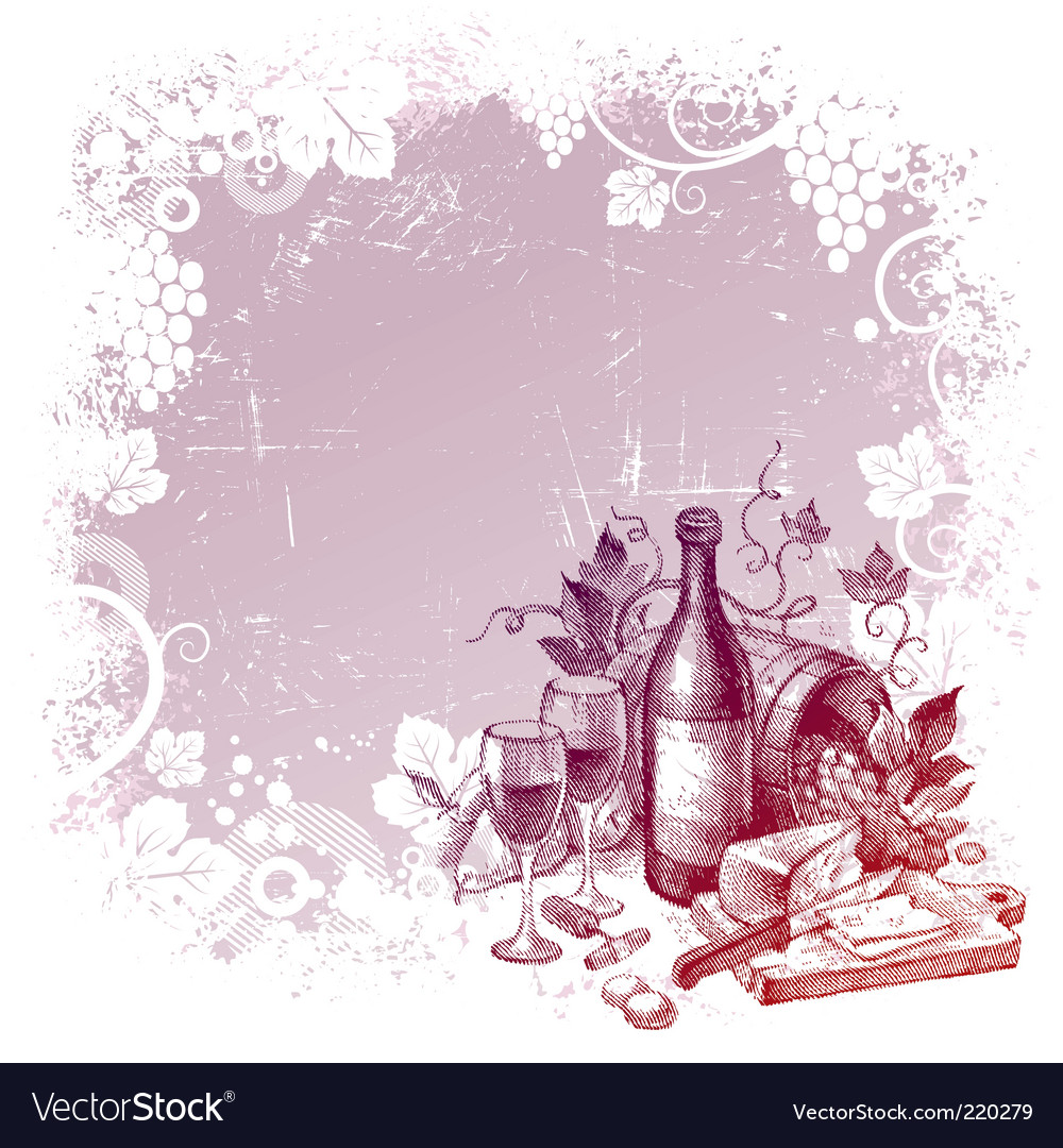 Vintage wine still life vector