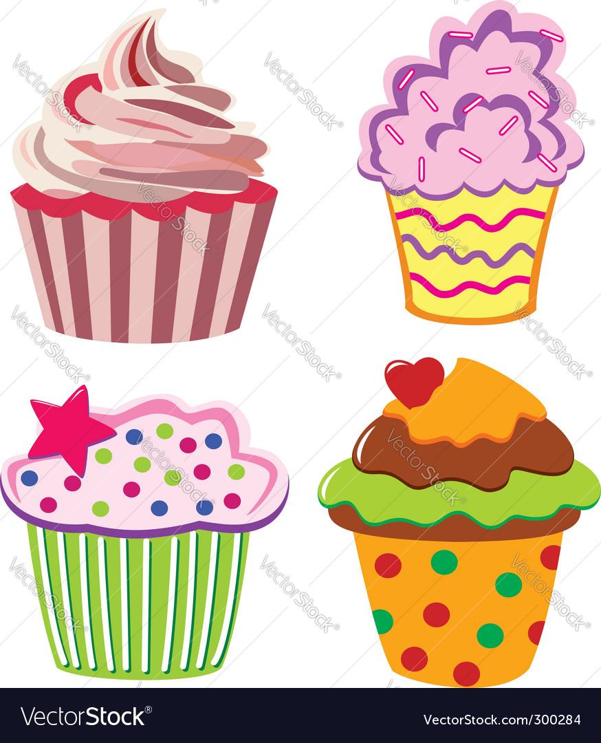 Four cupcakes vector