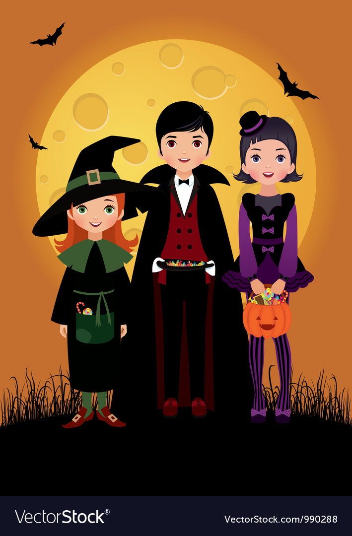 Children in costume halloween vector