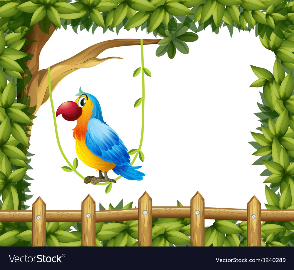 A parrot hanging in a vine plant near the wooden vector