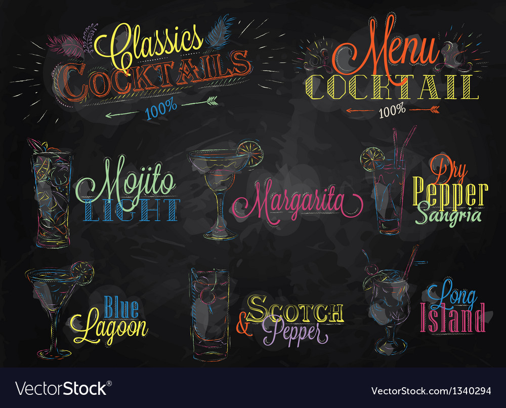 Cocktails colored chalk vector