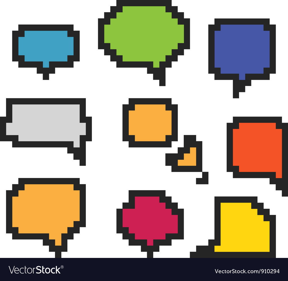 Pixel speech clouds vector