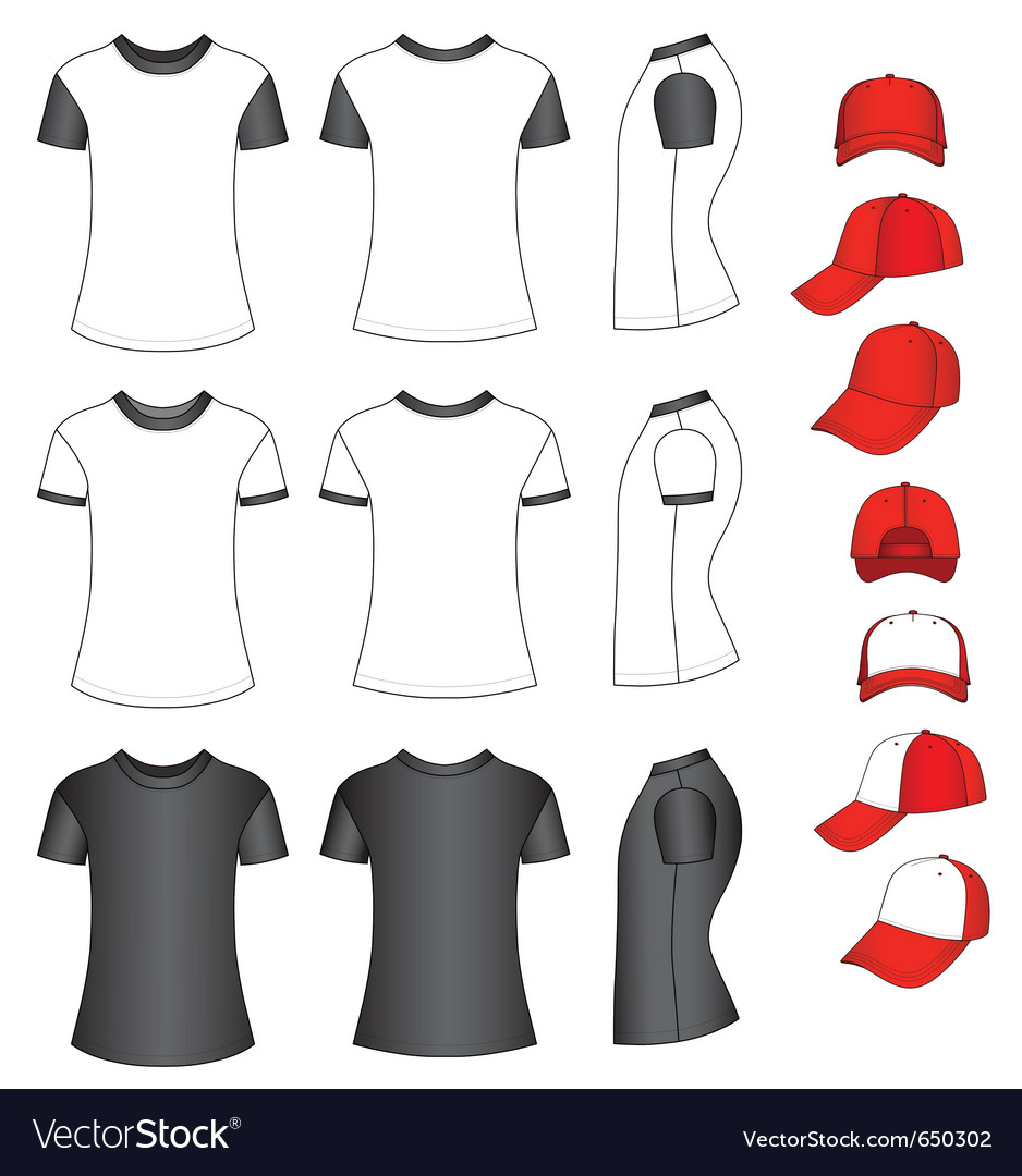 Shirts and baseball caps vector