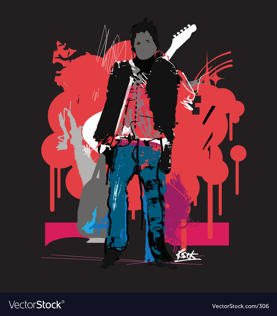 Free rock'n'roll man vector