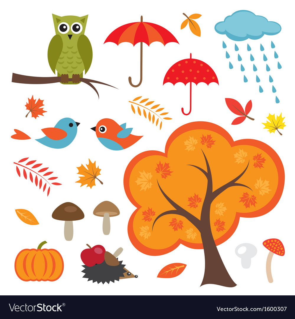 Colorful autumn set vector