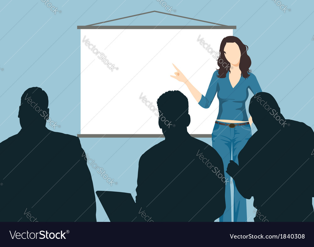 Working woman with presentation board vector
