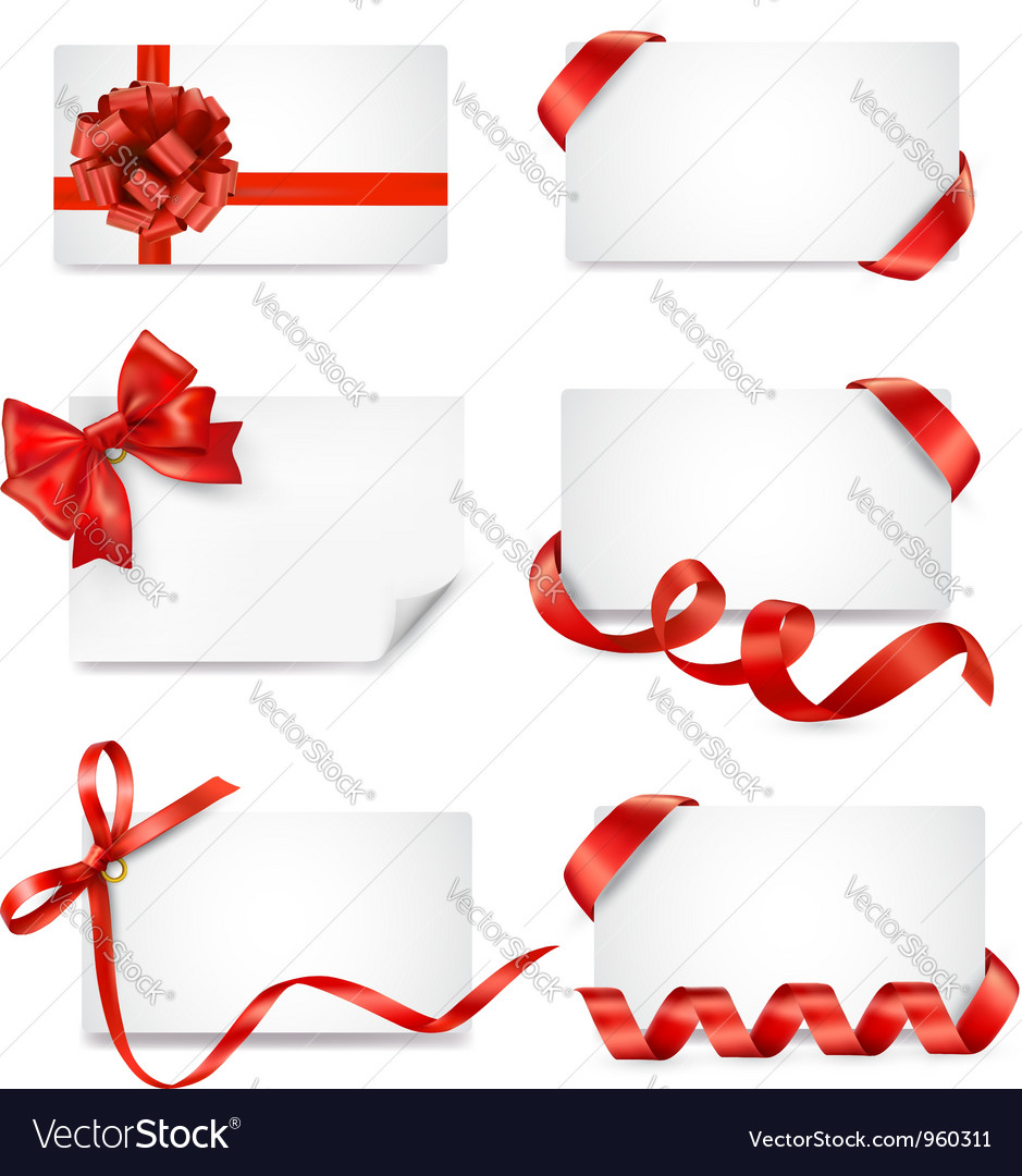 Big set of cards with red gift bows and ribbons vector
