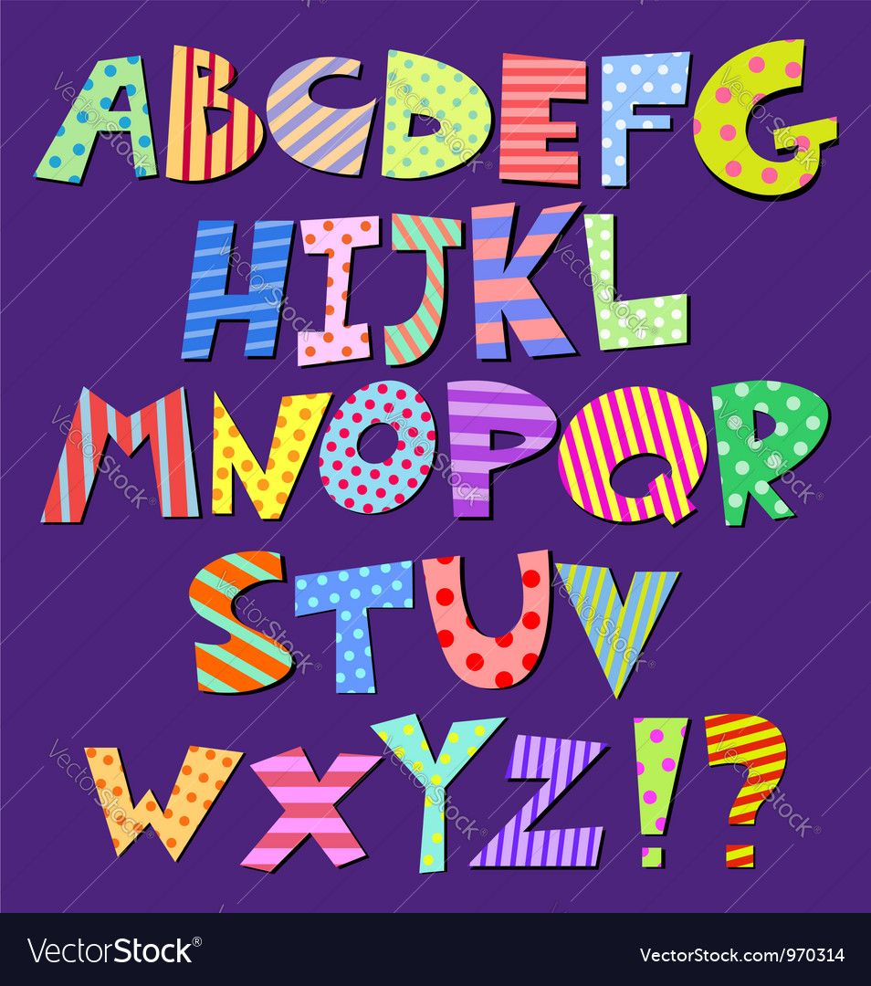 Comic alphabet vector