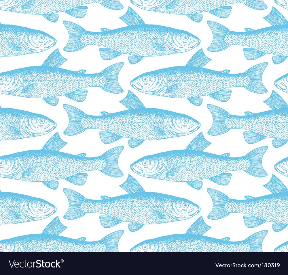 Vintage fish pattern vector