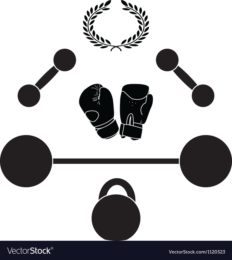 Weights and boxer gloves third variant vector