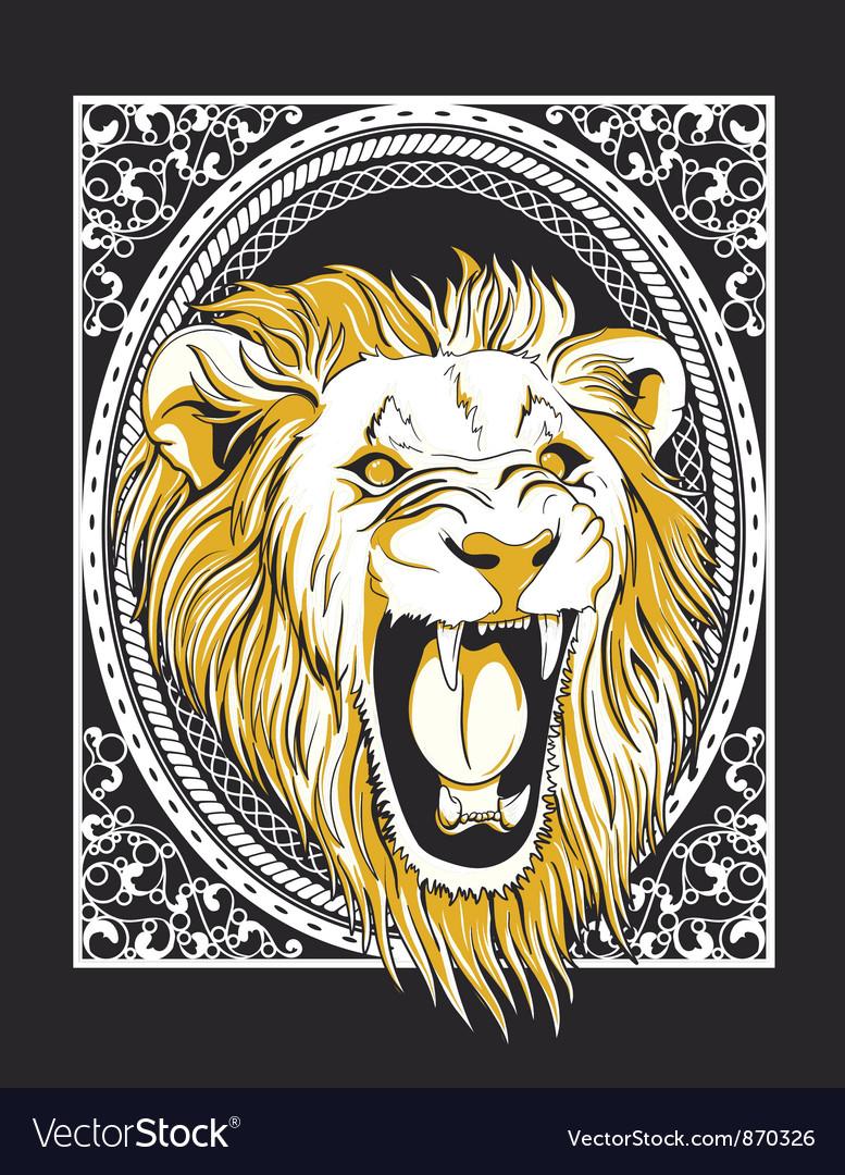 Frame with lion head vintage tshirt design vector