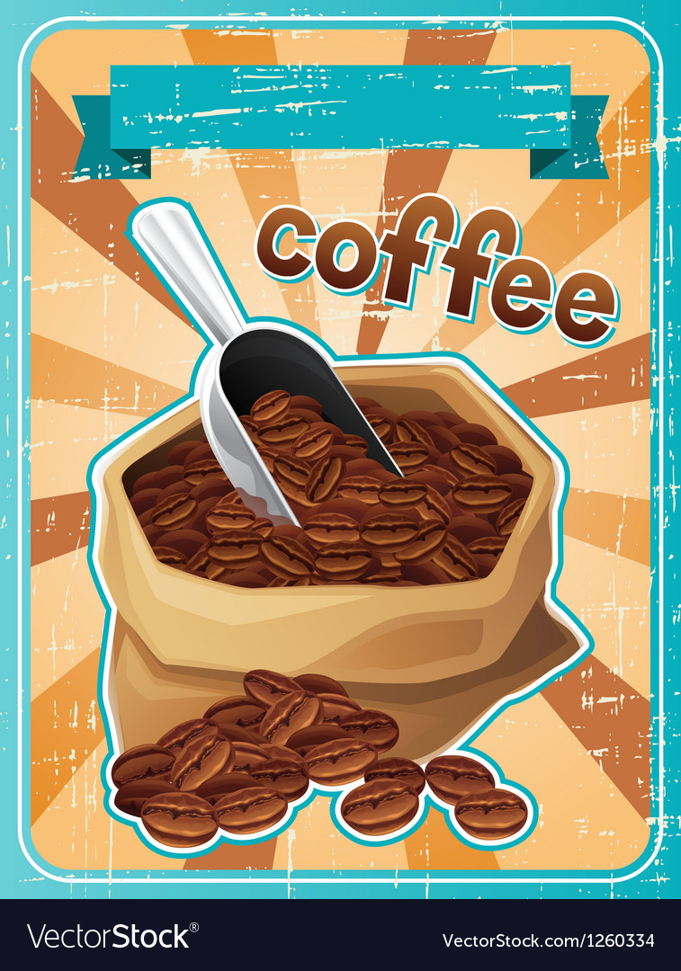 Poster with a bag of coffee beans in retro style vector